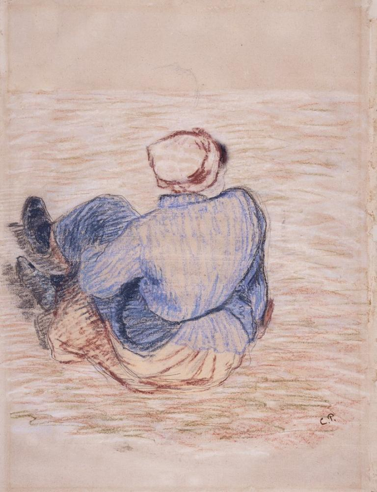 Camille Pissarro Yerde Oturan Köylü Kızı, Kanvas Tablo, Camille Pissarro