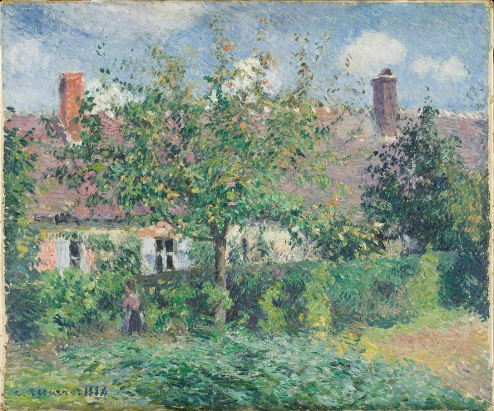 Camille Pissarro Eragny Köylü Evi, Kanvas Tablo, Camille Pissarro