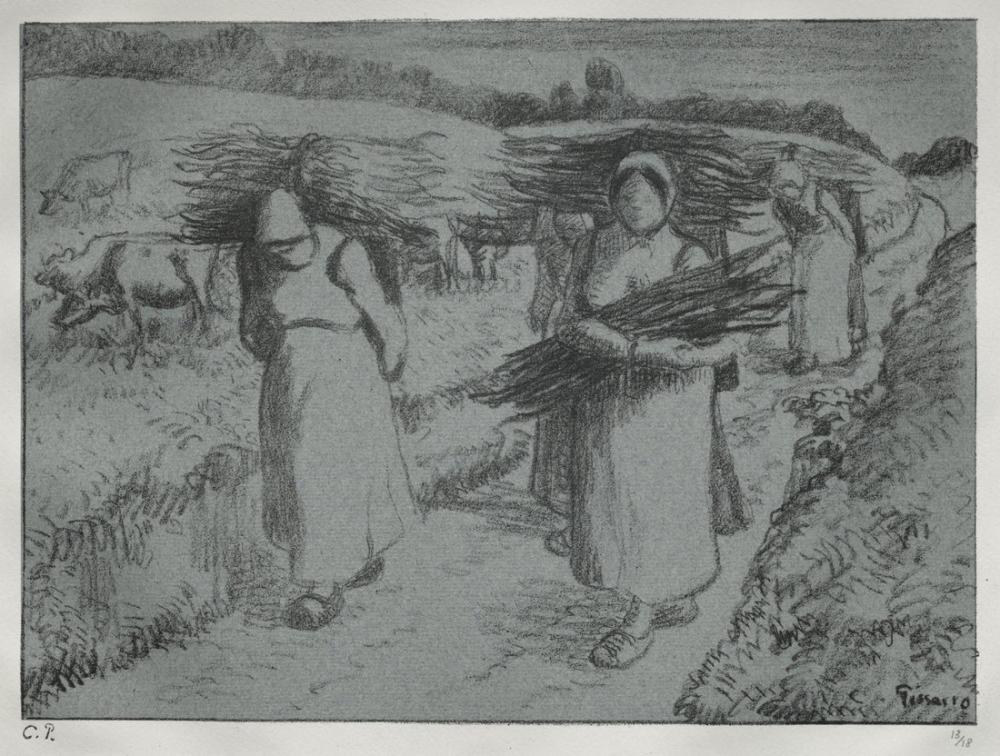 Camille Pissarro Çalı Çırpı Demeti Taşıyan Köylüler, Kanvas Tablo, Camille Pissarro