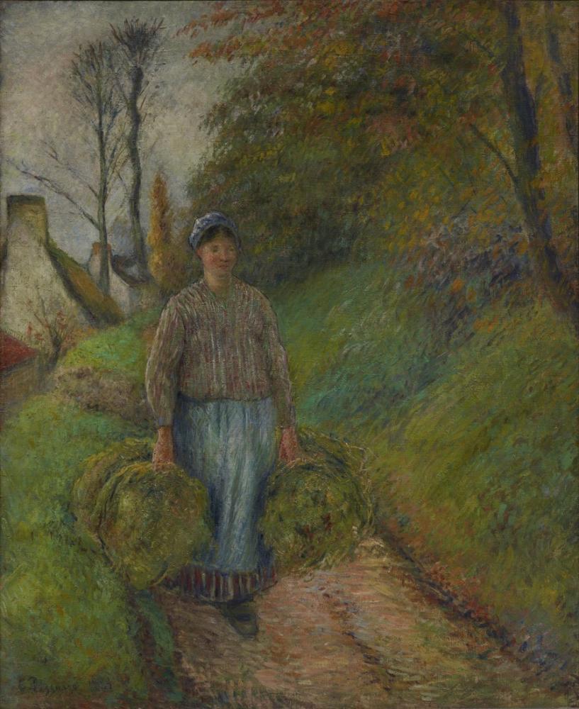 Camille Pissarro İki Ssaman Balyası Taşıyan, Kanvas Tablo, Camille Pissarro, kanvas tablo, canvas print sales
