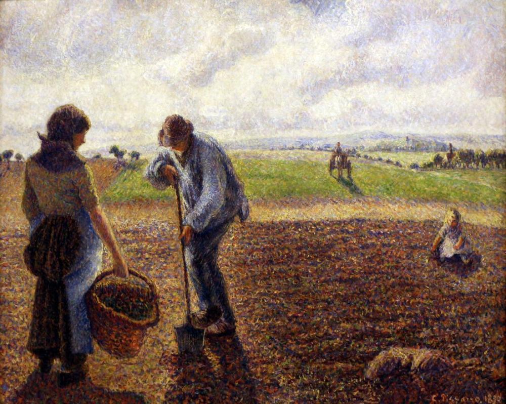 Camille Pissarro Alanlarındaki Köylüler Eragny, Kanvas Tablo, Camille Pissarro