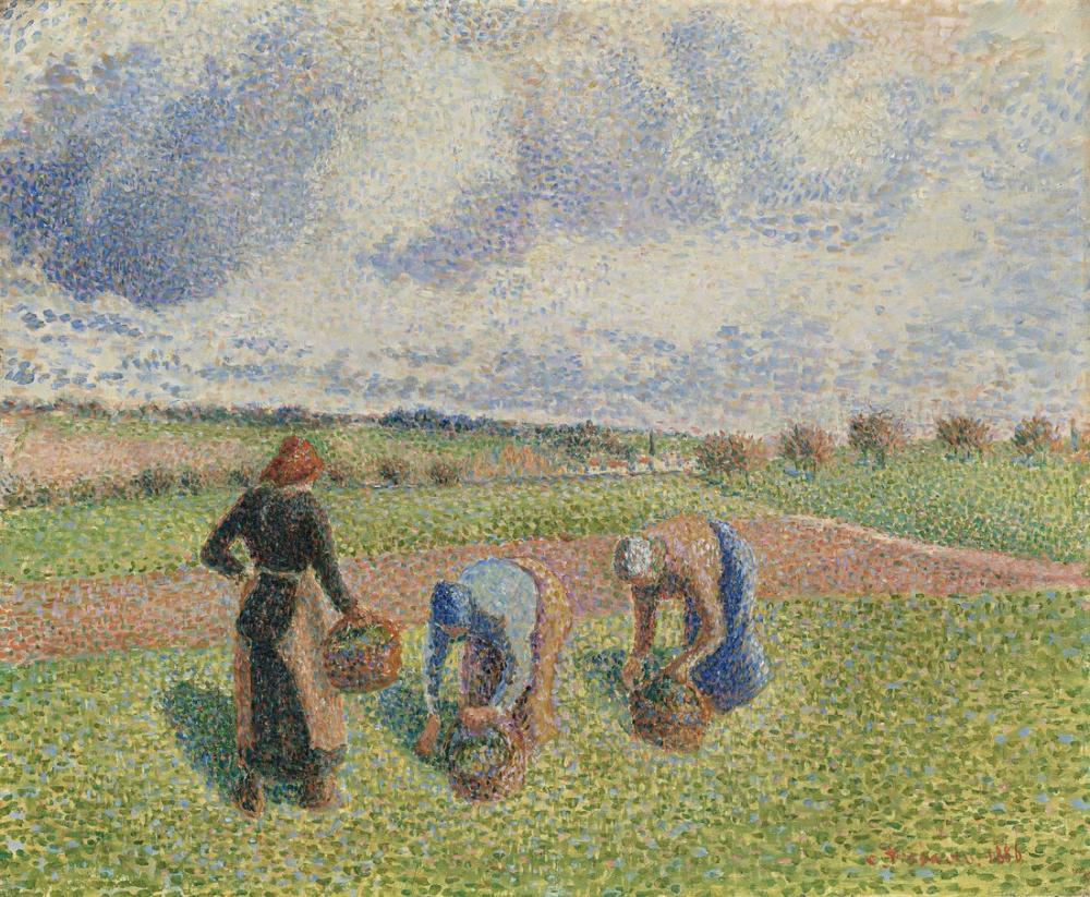 Camille Pissarro Köylüler Otlar Toplayıp, Kanvas Tablo, Camille Pissarro