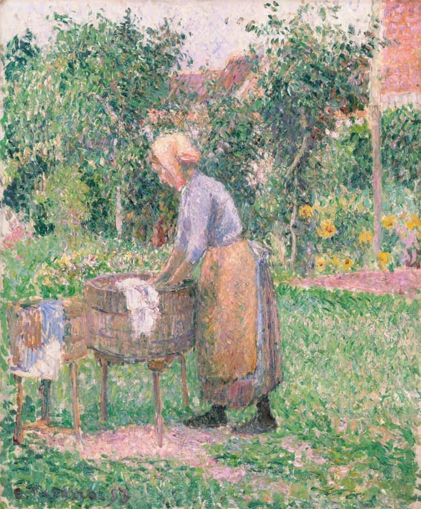 Camille Pissarro Bir Çamaşırcı Eragny, Kanvas Tablo, Camille Pissarro