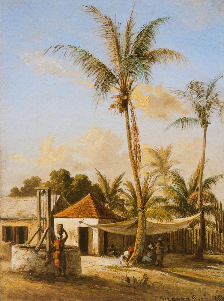 Camille Pissarro Bir Kuyuya Yakın Bir Köyde Oturan Karakterler, Kanvas Tablo, Camille Pissarro, kanvas tablo, canvas print sales