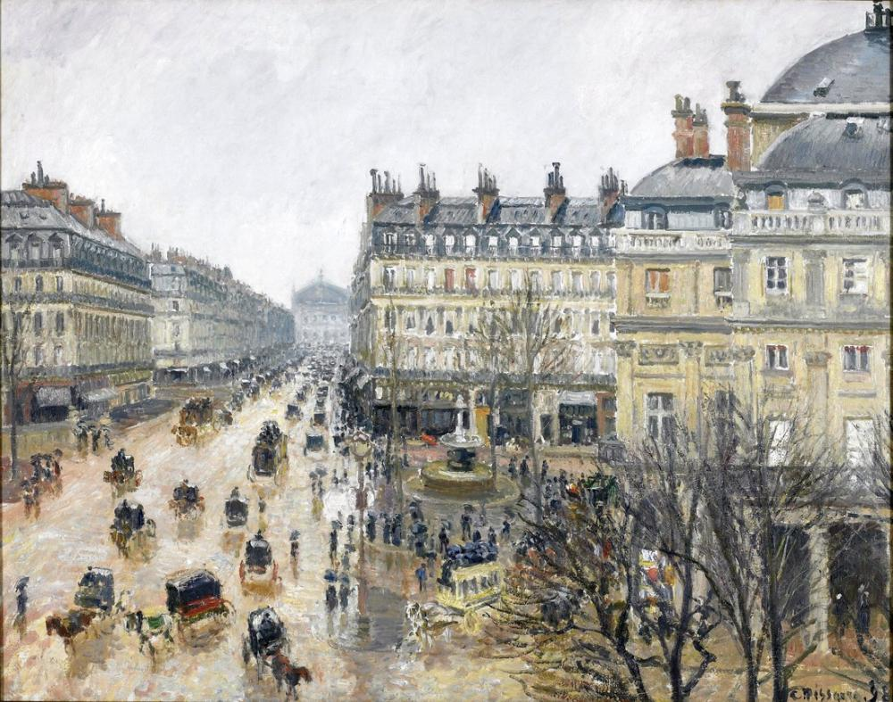 Camille Pissarro Place Theater French Paris Rain, Canvas, Camille Pissarro, kanvas tablo, canvas print sales