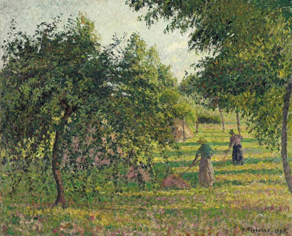 Camille Pissarro Elma Ağaçları Ve Ot Kurutucular Eragny, Kanvas Tablo, Camille Pissarro
