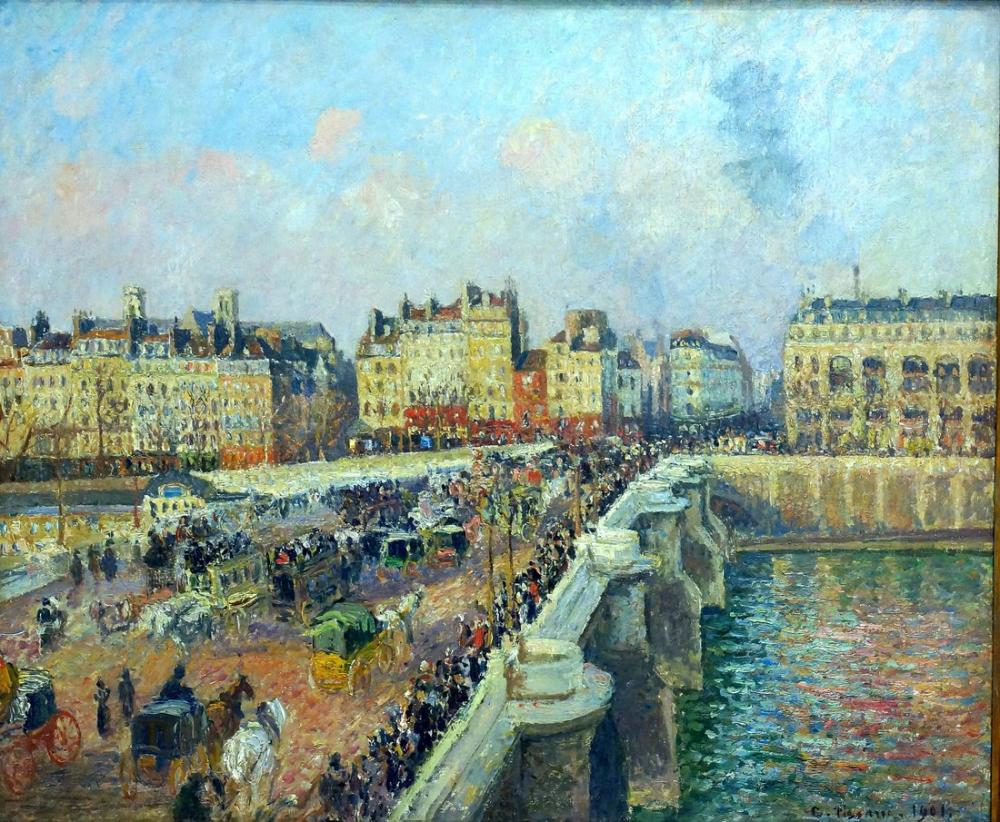 Camille Pissarro Paris New Bridge Öğleden Sonra Güneş Işığı, Kanvas Tablo, Camille Pissarro