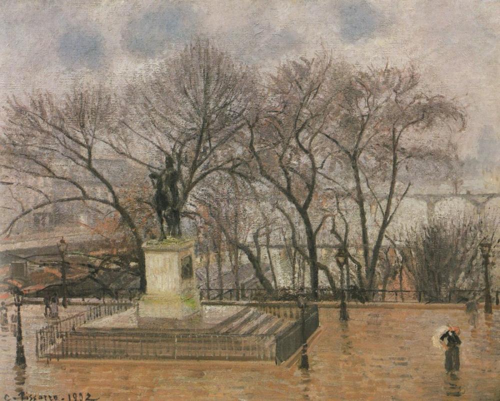 Camille Pissarro Yeni Köprü Yağmuru, Kanvas Tablo, Camille Pissarro
