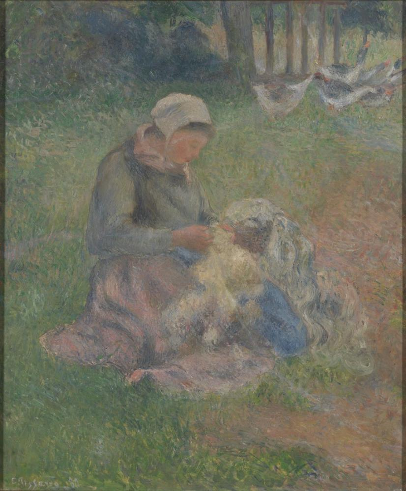 Camille Pissarro A Wool Carder, Canvas, Camille Pissarro, kanvas tablo, canvas print sales