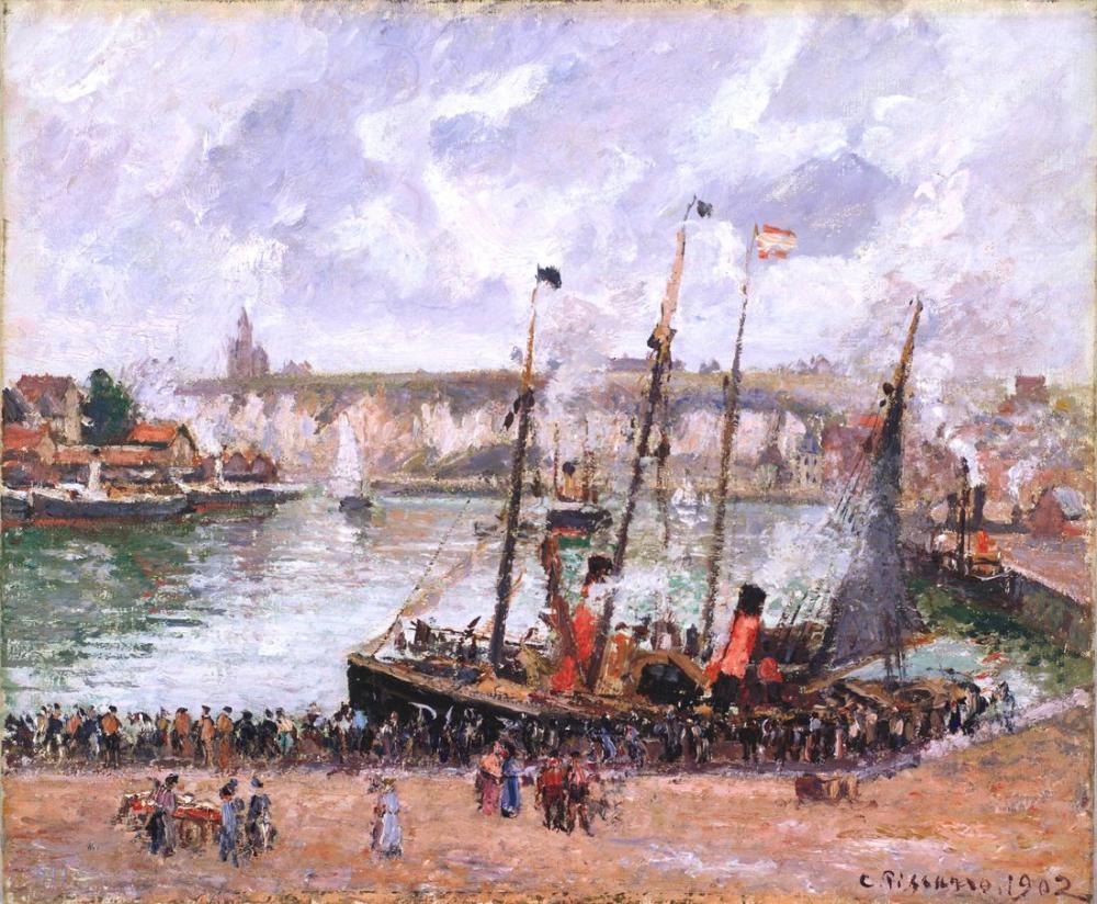 Camille Pissarro Dieppe Limanı, Kanvas Tablo, Camille Pissarro