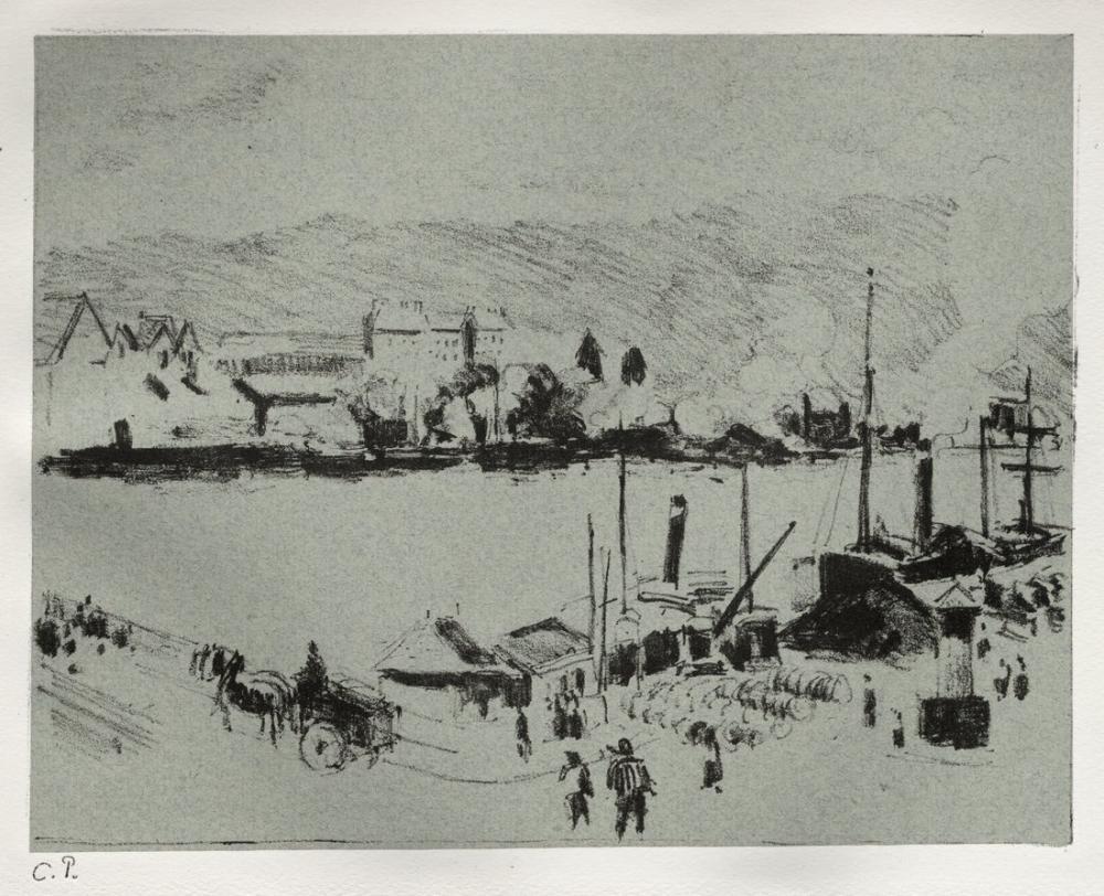 Camille Pissarro Rouen İçinde Quai Boieldieu, Kanvas Tablo, Camille Pissarro