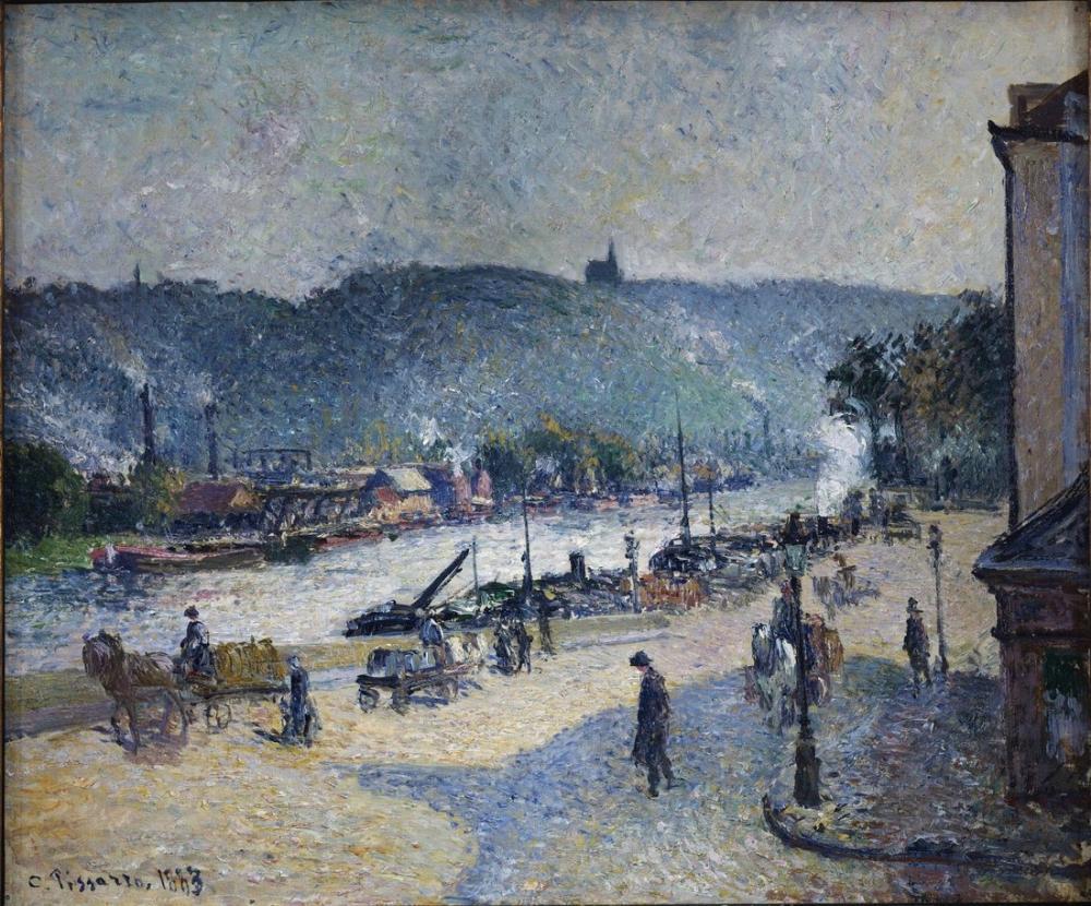 Camille Pissarro Quais De Rouen, Kanvas Tablo, Camille Pissarro