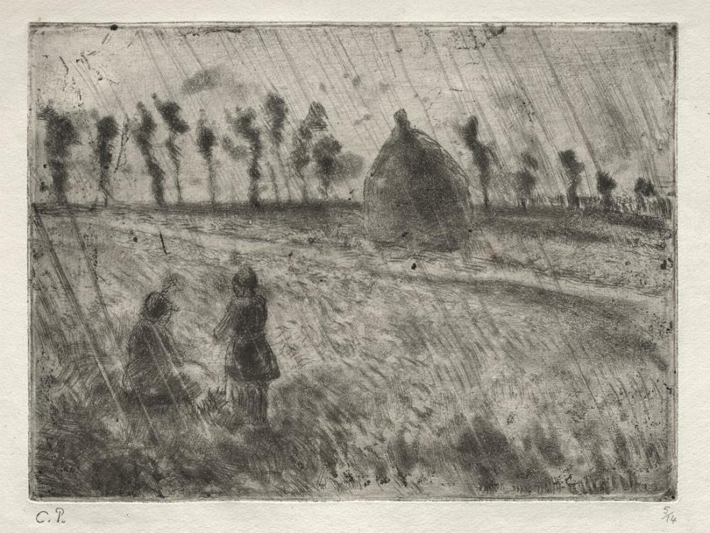 Camille Pissarro Yağmur Etkisi, Kanvas Tablo, Camille Pissarro