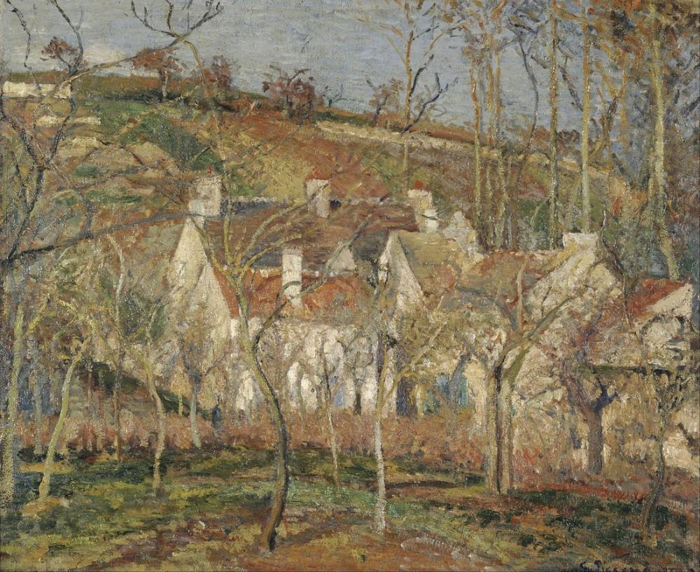 Camille Pissarro Kırmızı Çatılar Köy kış Köşesinde, Kanvas Tablo, Camille Pissarro, kanvas tablo, canvas print sales