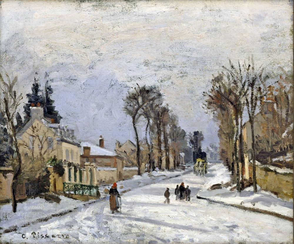 Camille Pissarro Louveciennes Versay Yolu, Kanvas Tablo, Camille Pissarro, kanvas tablo, canvas print sales