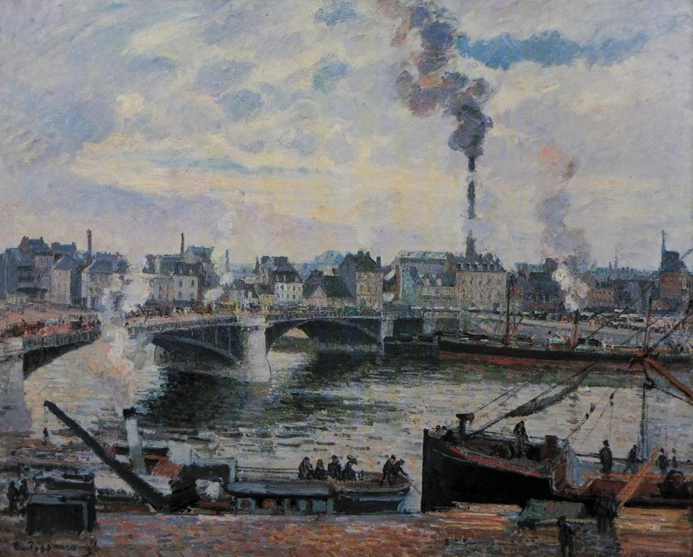 Camille Pissarro Rouen Büyük Köprü, Kanvas Tablo, Camille Pissarro