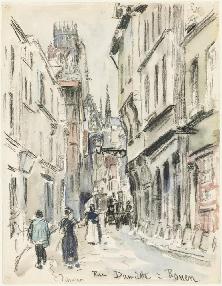 Camille Pissarro Rue Damiette Rouen, Kanvas Tablo, Camille Pissarro