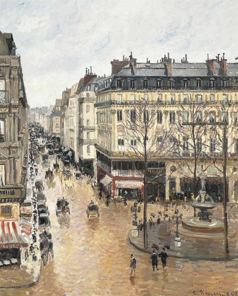 Camille Pissarro Saint Honoré Caddesi Öğleden Sonra Yağmur Etkisi, Kanvas Tablo, Camille Pissarro, kanvas tablo, canvas print sales