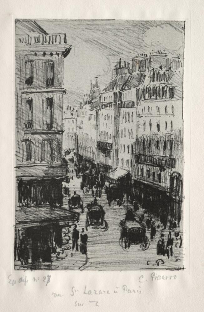 Camille Pissarro Saint Lazare Sokağı Paris, Kanvas Tablo, Camille Pissarro