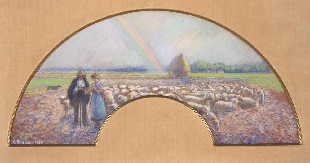 Camille Pissarro Gökkuşağı İle Alanlardaki Çobanlar, Kanvas Tablo, Camille Pissarro