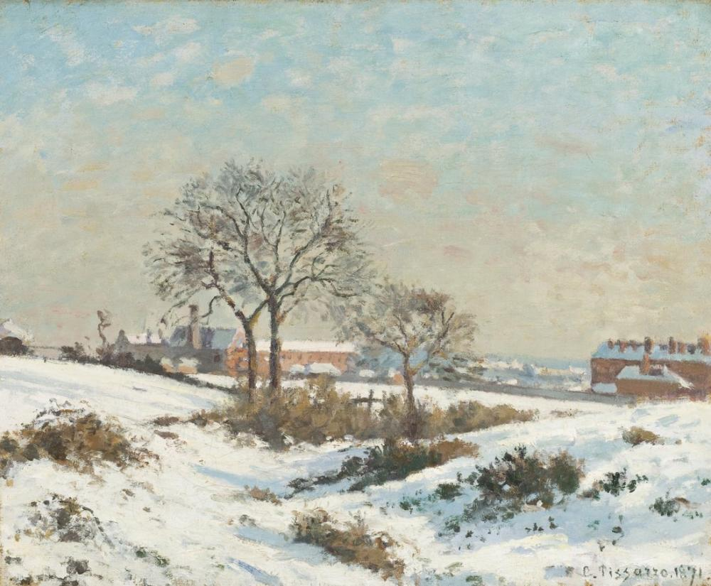 Camille Pissarro Güney Norwood Karlı Manzara, Kanvas Tablo, Camille Pissarro