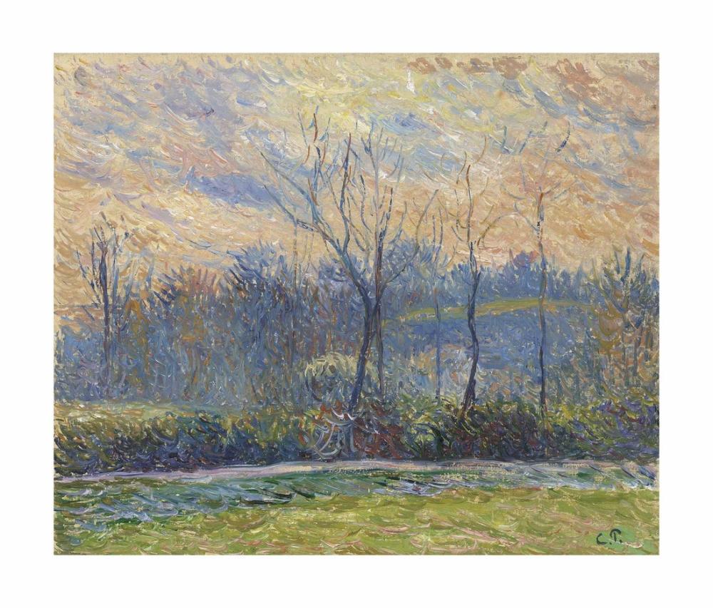 Camille Pissarro Kış Batan Güneş, Kanvas Tablo, Camille Pissarro