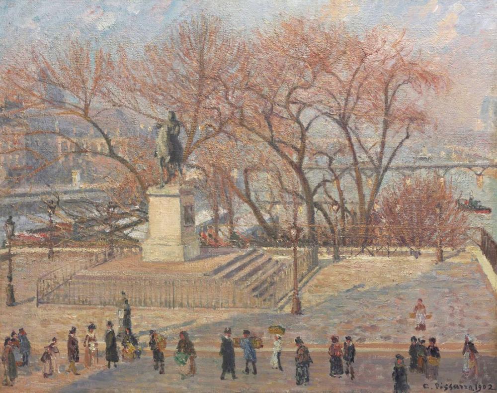 Camille Pissarro Henry IV Sabah Güneşi Heykeli, Kanvas Tablo, Camille Pissarro