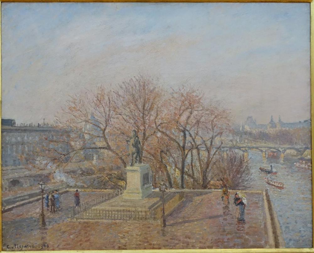 Camille Pissarro Henri IV Sabah Kış Güneş Işığı Heykeli, Kanvas Tablo, Camille Pissarro