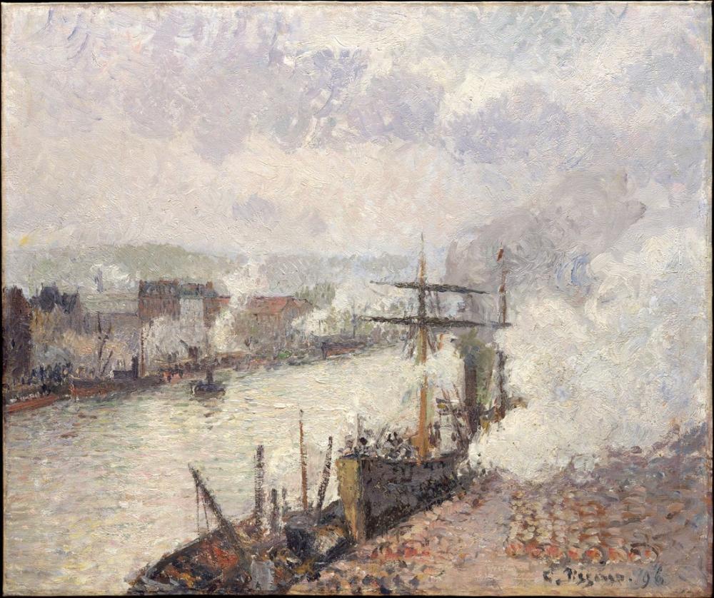 Camille Pissarro Rouen Limanı İçindeki Vapurlar, Kanvas Tablo, Camille Pissarro