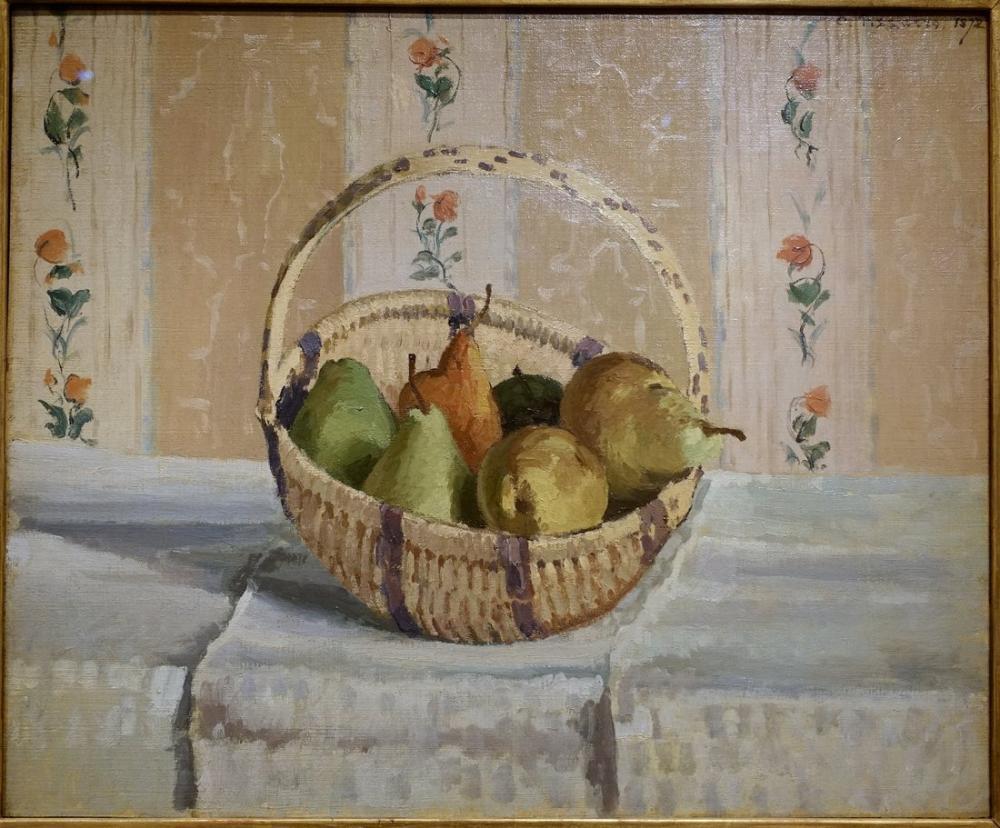 Camille Pissarro Yuvarlak Sepet İçinde Natürmort Elmalar Ve Armutlar, Kanvas Tablo, Camille Pissarro