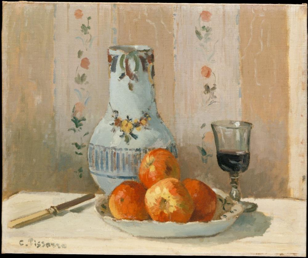 Camille Pissarro Elma Ve Sürahi İle Natürmort, Kanvas Tablo, Camille Pissarro