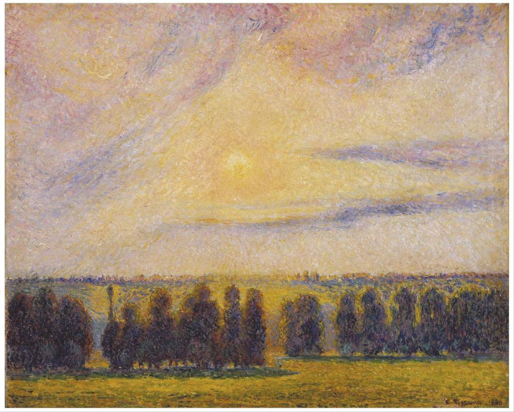 Camille Pissarro Gün Batımı Eragny, Kanvas Tablo, Camille Pissarro, kanvas tablo, canvas print sales