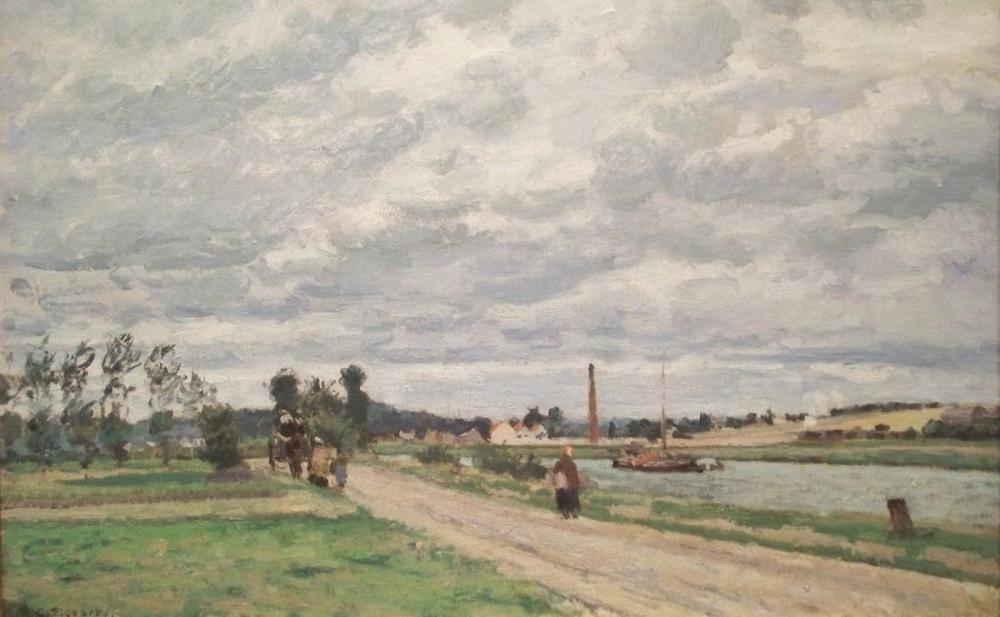 Camille Pissarro Pontoise Yakınlarındaki Oise Kıyıları, Kanvas Tablo, Camille Pissarro