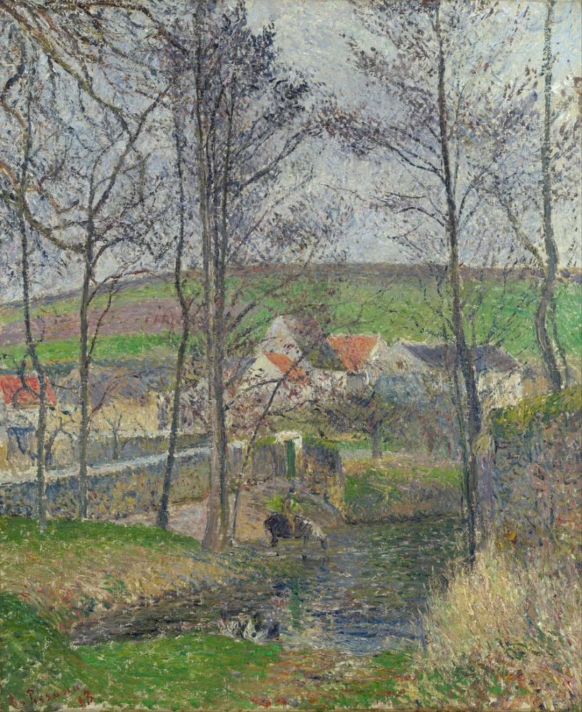 Camille Pissarro Gri Hava Osny Viosne Kıyılarında Kış, Kanvas Tablo, Camille Pissarro, kanvas tablo, canvas print sales