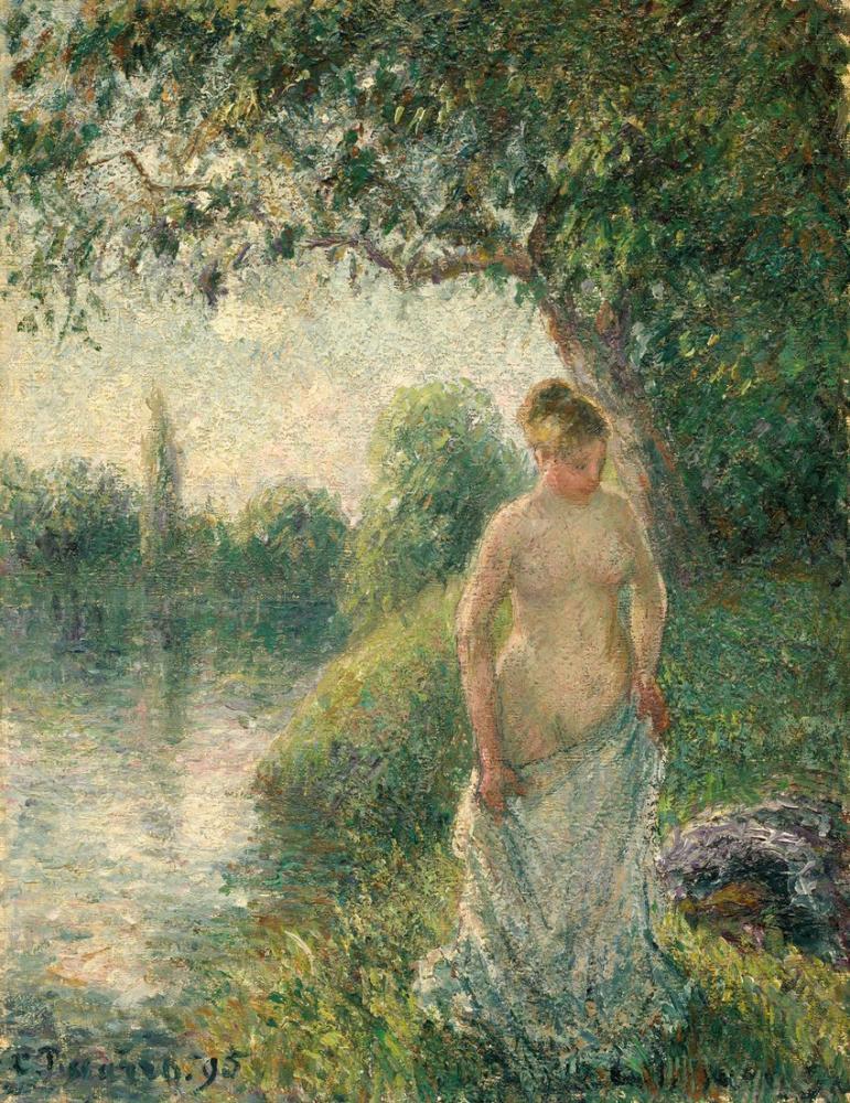 Camille Pissarro Yıkanan, Kanvas Tablo, Camille Pissarro