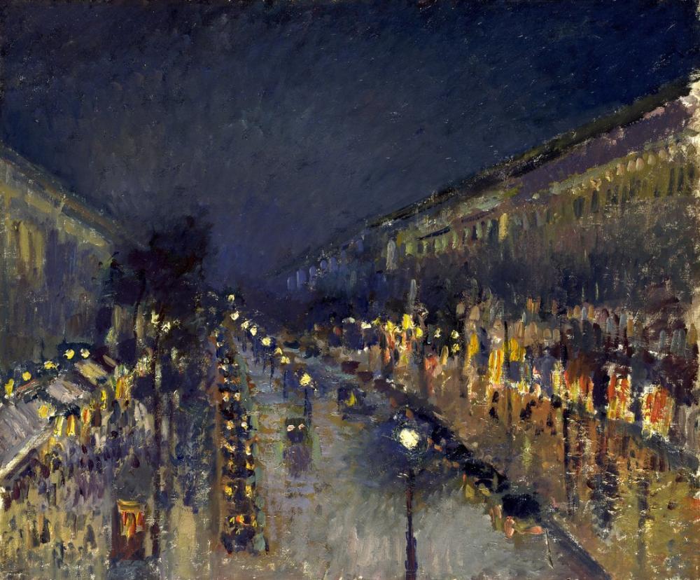 Camille Pissarro Gece Montmartre Bulvarı, Kanvas Tablo, Camille Pissarro