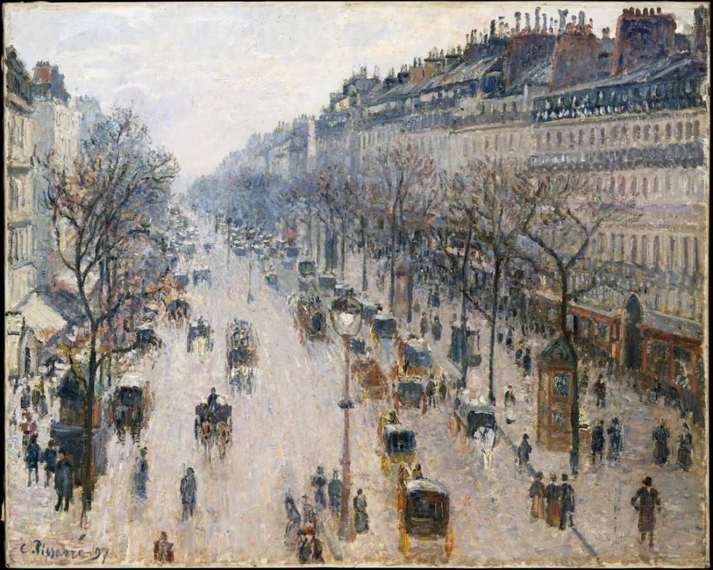 Camille Pissarro Kış Sabahı Montmartre Bulvarı, Kanvas Tablo, Camille Pissarro