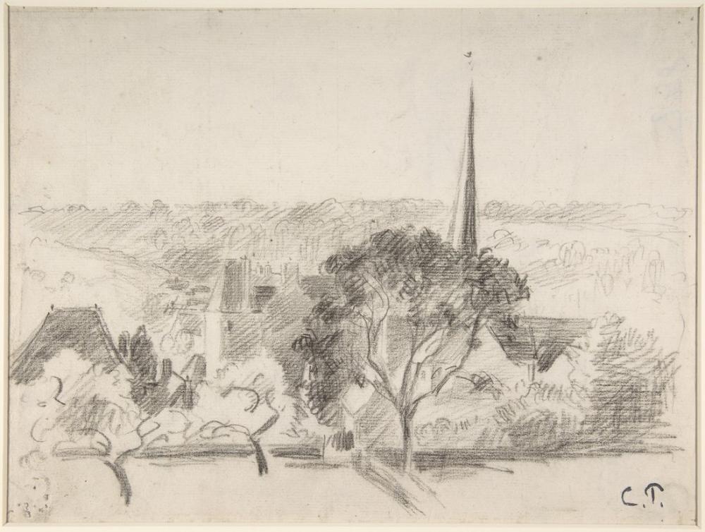 Camille Pissarro Kilise Eragny, Kanvas Tablo, Camille Pissarro, kanvas tablo, canvas print sales