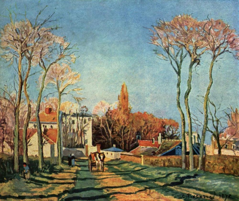 Camille Pissarro Voisins Kasabasına Giriş, Kanvas Tablo, Camille Pissarro