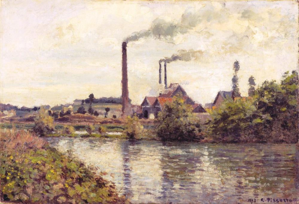 Camille Pissarro Fabrika Pontoise, Kanvas Tablo, Camille Pissarro