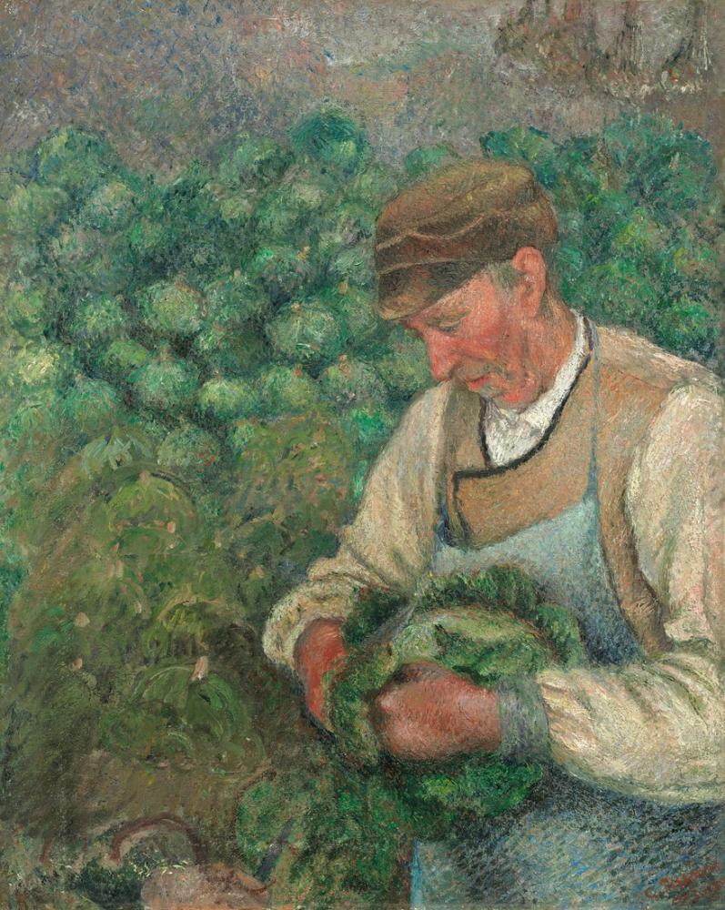 Camille Pissarro Lahana ile Bahçıvan Eski Köylü, Kanvas Tablo, Camille Pissarro, kanvas tablo, canvas print sales