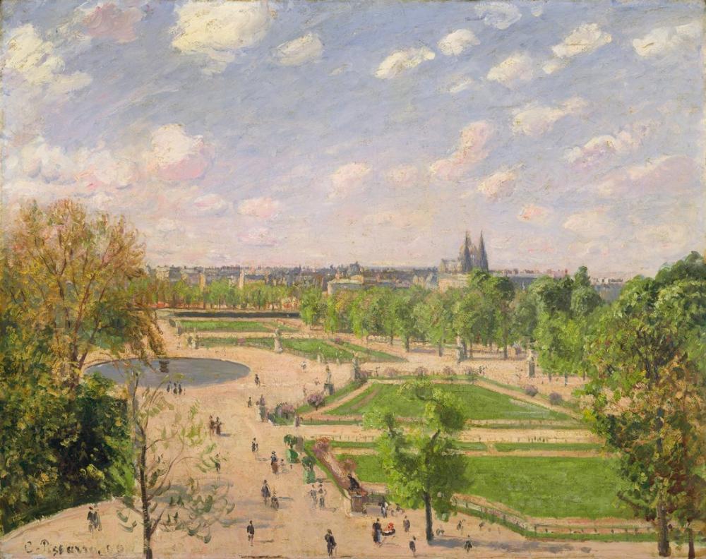Camille Pissarro Bahar Sabahı Tuileries Bahçesi, Kanvas Tablo, Camille Pissarro