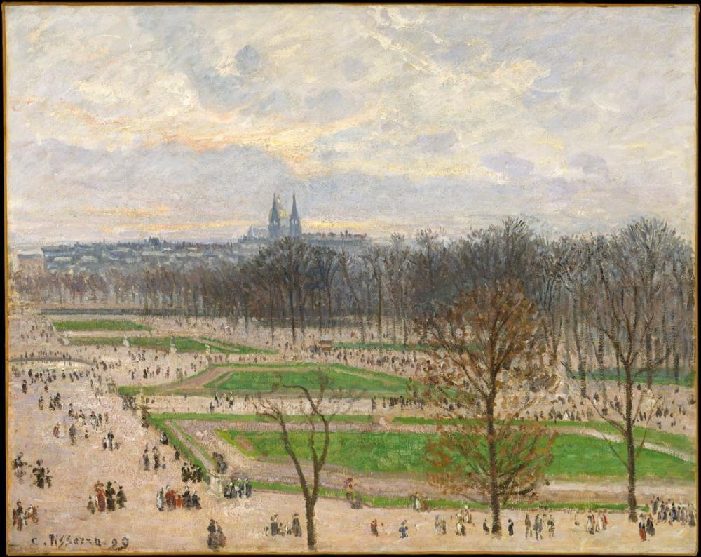 Camille Pissarro Kış Öğleden Sonra Tuileries Bahçesi, Kanvas Tablo, Camille Pissarro, kanvas tablo, canvas print sales