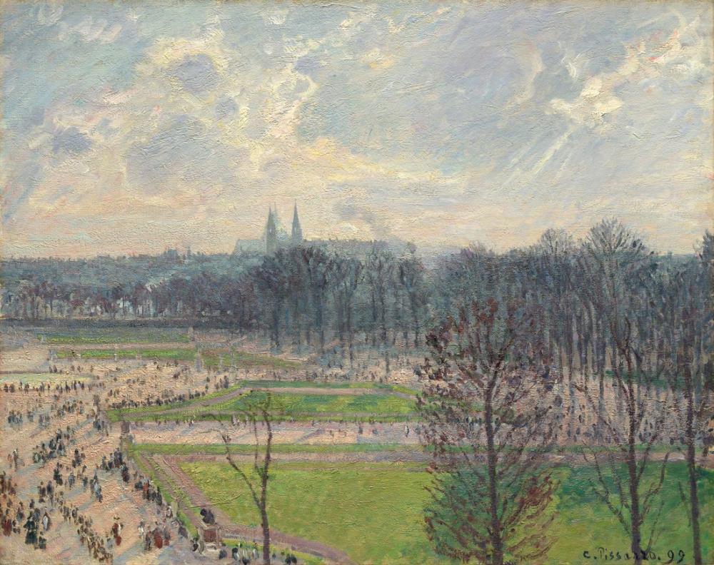Camille Pissarro Kış Öğleden Sonra Tuileries Bahçesi II, Kanvas Tablo, Camille Pissarro