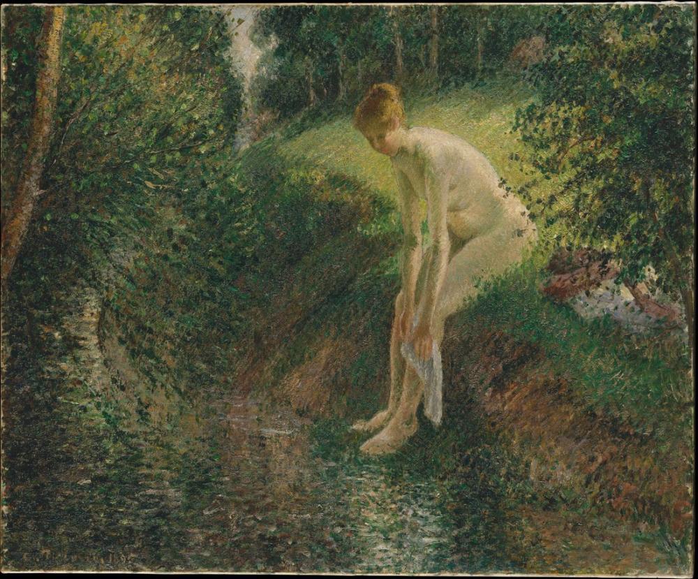 Camille Pissarro Ormanda Yüzücü, Kanvas Tablo, Camille Pissarro, kanvas tablo, canvas print sales
