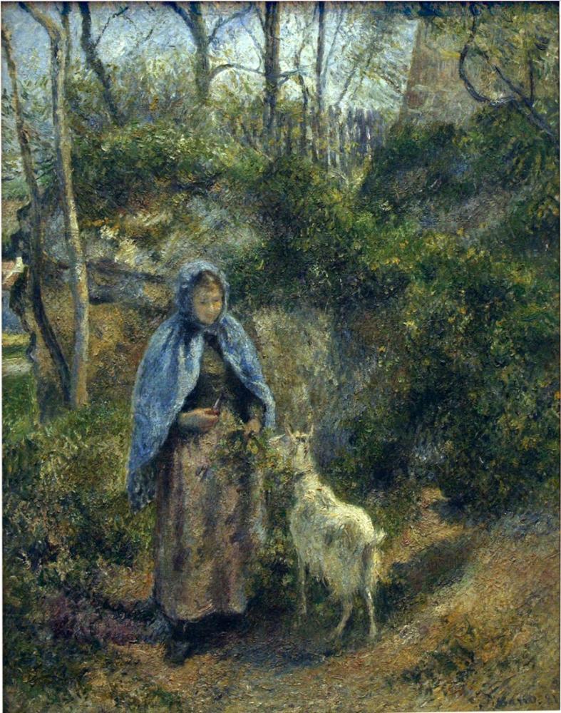 Camille Pissarro Keçi Çobanı, Kanvas Tablo, Camille Pissarro