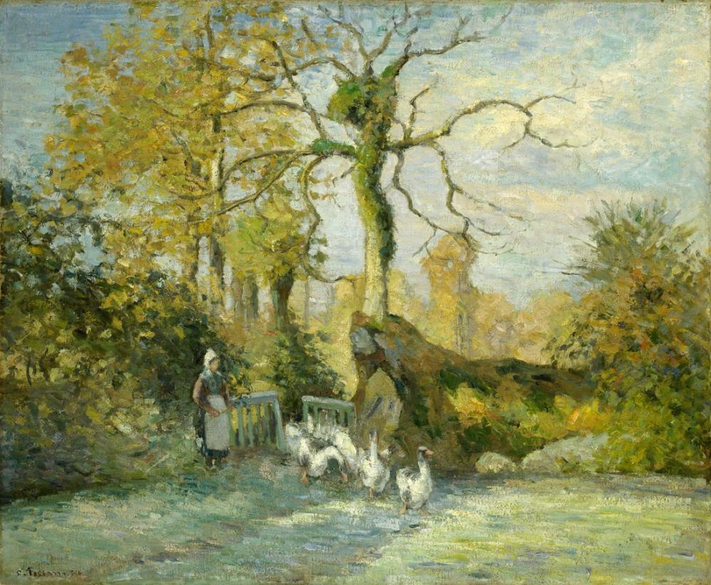 Camille Pissarro Montfoucault Beyaz Don Kaz Kızı, Kanvas Tablo, Camille Pissarro