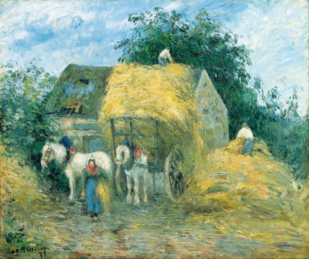 Camille Pissarro Saman Arabası Montfoucault, Kanvas Tablo, Camille Pissarro, kanvas tablo, canvas print sales