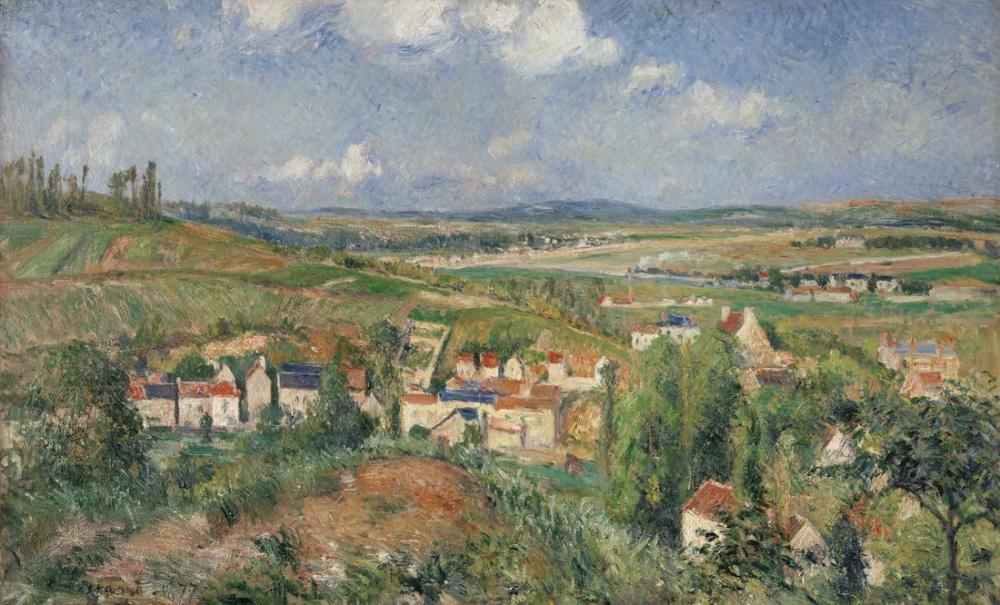 Camille Pissarro Pontoise Yaz Aylarında Hermitage, Kanvas Tablo, Camille Pissarro