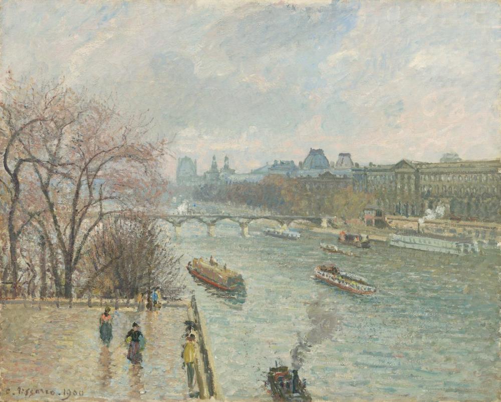 Camille Pissarro Louvre Öğleden Sonra Yağışlı Hava, Kanvas Tablo, Camille Pissarro